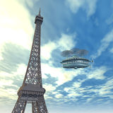 Eiffel Tower with Fantasy Airship Royalty Free Stock Image
