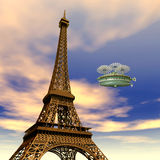 Eiffel Tower with Fantasy Airship Stock Photo