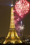 Eiffel tower with fireworks, New Year in Paris Stock Photos