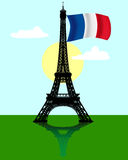 Eiffel tower with the flag of France. Black silhouette of the Eiffel tower with the flag of France Stock Image