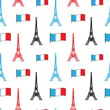 Eiffel Tower and the flag of France, seamless pattern vector illustration