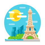 Eiffel tower flat design landmark Royalty Free Stock Image