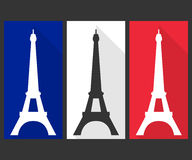 Eiffel Tower. Flat icon. The colors of the French flag Royalty Free Stock Photos