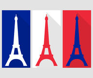 Eiffel Tower. Flat icon. The colors of the French flag Royalty Free Stock Photo