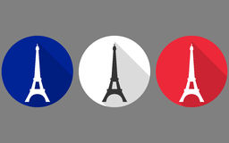 Eiffel Tower. Flat icon. The colors of the French flag Royalty Free Stock Photography