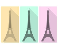 Eiffel Tower. Flat icon. Three icons of the Eiffel Tower in a flat design with long shadow Stock Images