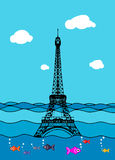 Eiffel tower flood. France attraction underwater.Disaster in Par. Eiffel tower flood. France attraction underwater. France symbol filled with water. Fish swim in Royalty Free Stock Photos