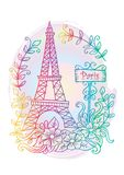 Eiffel tower. Floral, drawn. Stock Photo