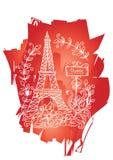 Eiffel tower. Floral, drawn. Stock Photos