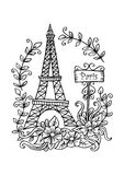 Eiffel tower. Floral, drawn. Stock Images