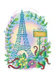 Eiffel tower. Floral, drawn. Royalty Free Stock Image