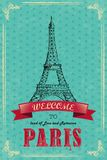 Eiffel Tower For Retro Travel Poster Stock Photos