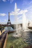 Eiffel Tower and fountain at Jardins du Trocadero, Paris Royalty Free Stock Photography