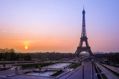 Eiffel Tower and fountain at Jardins du Trocadero at sunrise, Pa Stock Image