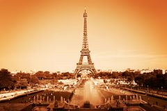 Eiffel Tower and fountain, Paris, France. Vintage royalty free stock images