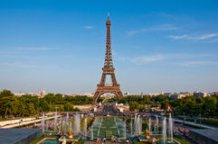 The Eiffel Tower and fountains. Stock Photo