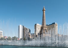 Eiffel Tower, Fountains of Bellagio Royalty Free Stock Photography