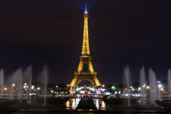 Eiffel tower fountains night. Place: Paris. Date: November 7, 2014. Eiffel tower Tour de Eiffel which is the principal landmark of Paris, France, at night with Stock Image