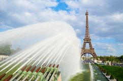 Eiffel tower with fountains Stock Photography