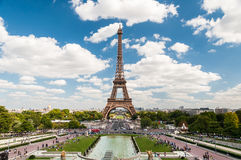 The Eiffel Tower and fountains of Trocadero in Paris France. Wonderful Eiffel Tower and fountains of Trocadero with blue sky in Paris France Royalty Free Stock Images