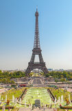 The Eiffel Tower and fountains of Trocadero in Paris France. Wonderful Eiffel Tower and fountains of Trocadero with blue sky in Paris France Royalty Free Stock Photo