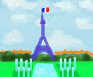 Eiffel Tower France Abstract Painting Stock Photos