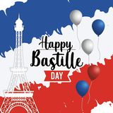 Eiffel tower with france flag and balloons royalty free illustration
