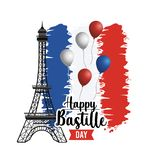 Eiffel tower with france flag and ribbon stock illustration