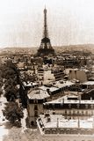 Eiffel tower. France. Paris. View of openwork Eiffel tower in style old shabby photos Royalty Free Stock Images