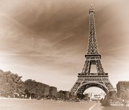 Eiffel tower. France. Paris. View of openwork Eiffel tower in style old shabby photos Royalty Free Stock Photography