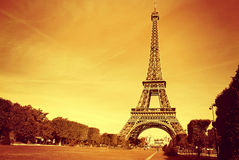 Eiffel Tower. France. The symbol of Paris - Eiffel Tower at sunset Stock Photo