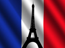 Eiffel tower with French flag Royalty Free Stock Photo