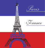 Eiffel tower on French flag background Stock Photo