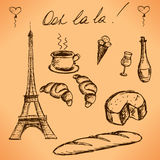 Eiffel Tower and French food. Vintage hand drawn picture. vector Stock Image