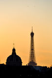 The Eiffel Tower and the French Institute at sunset Royalty Free Stock Photo