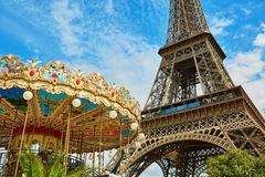 Eiffel tower and French merry-go-round Stock Image
