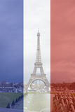 Eiffel Tower in front of French flag background Royalty Free Stock Photography