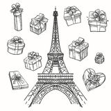 Eiffel tower and gift boxes Stock Image