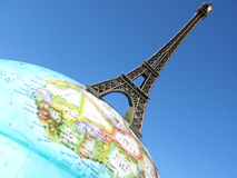 Eiffel tower. On the globe Stock Images