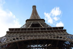 Eiffel Tower, going from down to up, in Paris, France Royalty Free Stock Photos