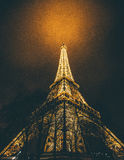 Eiffel Tower. Gold glow in Paris stock photos