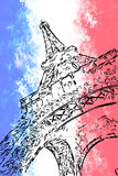 Eiffel tower on grange background in the colors of the French fl Stock Images