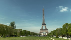 Eiffel tower great timelapse. Eiffel tower in Paris seen from Champs de Mars during the daytime stock footage