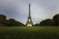 Eiffel tower with greenery in clear sky day Stock Photo