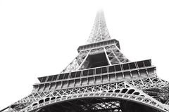 Eiffel Tower in greyscale. Eiffel Tower in high contrast black and white ? France, Paris Stock Photos