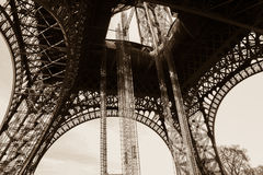 Eiffel tower from ground. The Eiffel Tower (French: La tour Eiffel) is an iron lattice tower located on the Champ de Mars in Paris Stock Images