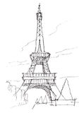 Eiffel tower hand pen doodle sketch Royalty Free Stock Photos