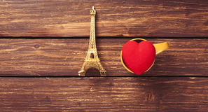 Eiffel tower and heart shape toy Royalty Free Stock Photo