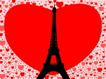 Eiffel Tower with hearts Stock Images