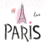 Eiffel tower and hearts. Paris hand drawn letter vector illustration poster design Stock Photography